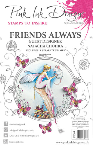 Friends Always Guest Designer Natacha Chohra 8 Stamps Set By Pink Ink Designs PI066