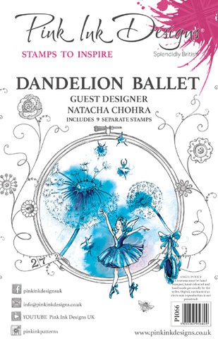 Dandelion Ballet Guest Designer Natacha Chohra 9 Stamps Set By Pink Ink Designs PI066