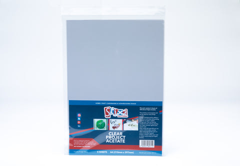 A4 Clear Acetate Sheets 5 Sheets 210mm x 297m Stix2 S57131