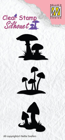 Mushrooms Silhouette Clear Stamps By Nellie Snellen SIL034