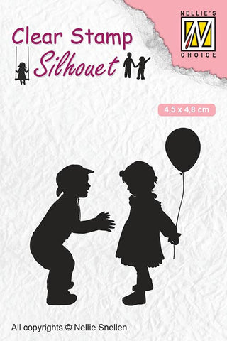Nellie Snellen Clear Stamps Silhouette Child's Play - Children with Balloon SIL046