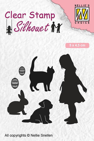 Nellie Snellen Clear Stamps Silhouette Child's Play - Animal Lover SIL050