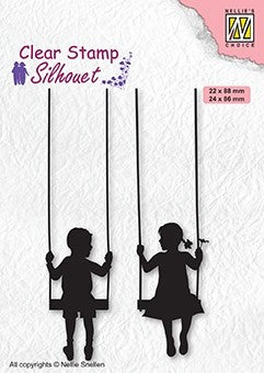 Boy and Girl Swinging Nellie Snellen Clear Stamps Silhouette SIL076