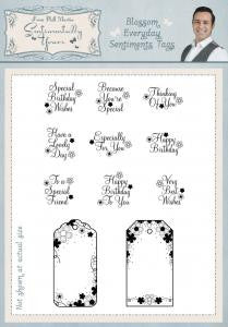 Blossom Everyday Sentiments Tags A5 Clear Stamp Set By Phill Martin
