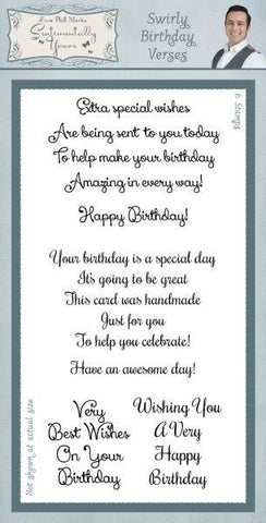 Swirly Birthday Verses Clear Stamps By Phill Martin SYC009