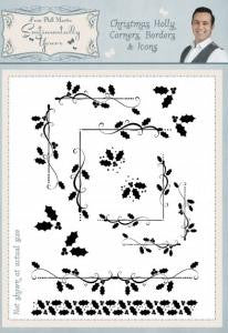 Christmas Holly Corners, Borders & Icons A5 Clear Stamp Set By Phill Martin