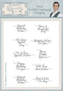 Petite Scribbled Sentiments A5 Clear Stamp Set By Phill Martin