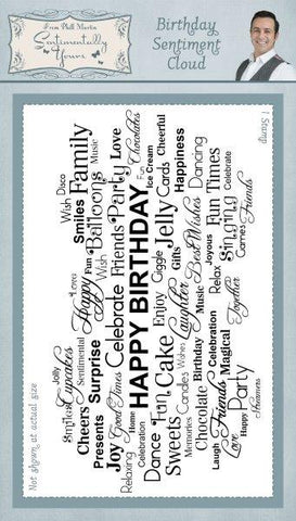 Birthday Sentiment Cloud Rubber Stamp From Phill Martin Sentimentally Yours SYR016