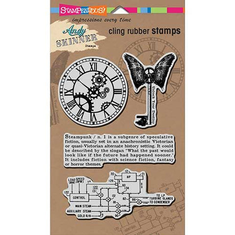Steampunk Cling Rubber Stamps Andy Skinner By Stampendous ASCRS02