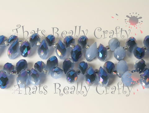 Jade Glass Beads Cornflower Blue Half Rainbow Plated 12 x 6 x 6mm TRC016