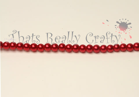 Glass Pearl Crimson Beads 105 pcs 4mm TRC025