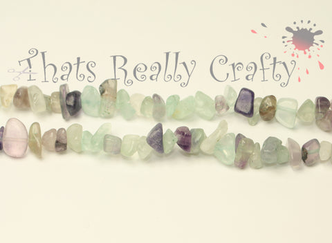 "Natural Fluorite Chips Mixed Colour 5~8mm Long Approx 36"" Strand TRC029"