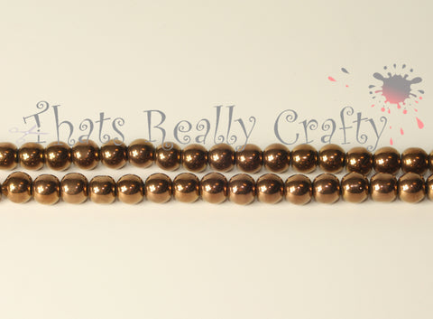 Mardi Gras Glass Beads Bronze 6mm TRC035