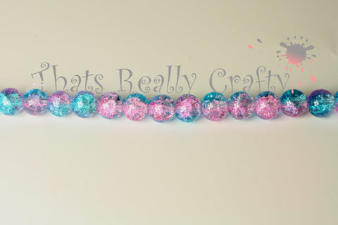 Pink and Blue Crackle Glass Round beads 8mm Approx 52pcs TRC036