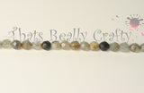 Grey Natural Labradorite Faceted Round Beads 4mm TRC040