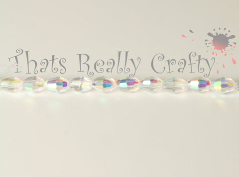 Faceted Oval Glass Beads AB Color Plated White 6mm Long 4mm TRC042