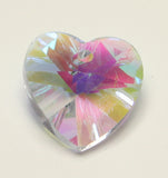 Glass Heart Pendants Violet Faceted AB Colour 14x7mm TRC053