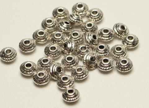 Tibetan Silver Bead Spacers Lead and Cadmium Free Approx 50pcs TRC060