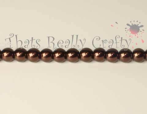 Saddle Brown Pearlised Glass Pearl Beads 6mm TRC074