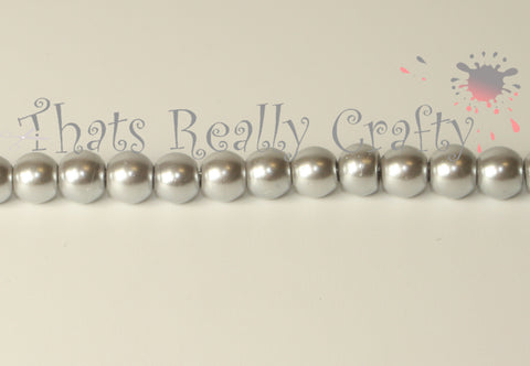 Silver Pearlised Glass Pearl Beads 6mm TRC077