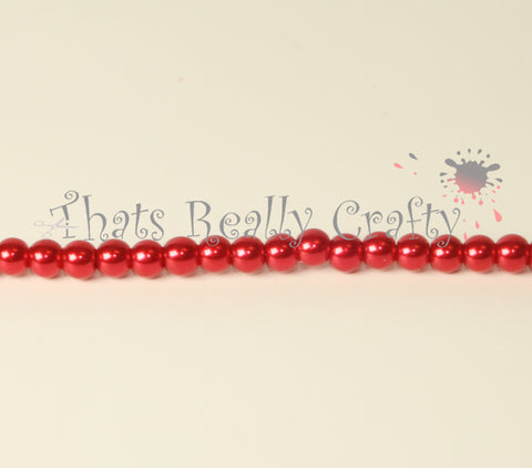 Fire Brick Red Pearlised Glass Pearl Beads 6mm TRC081