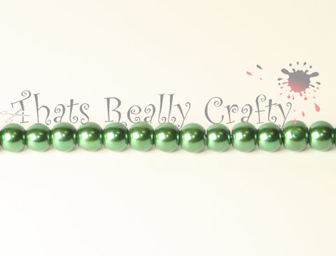 Dark Green Pearlised Glass Pearl Beads 6mm TRC085