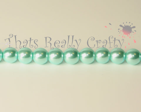 Light Cyan Pearlised Glass Pearl Beads 8mm TRC091