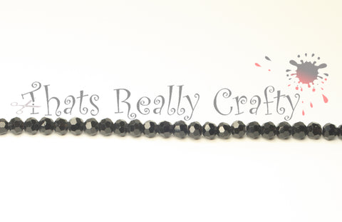 Black Faceted Round 4mm Glass Beads Approx 100pcs. TRC109