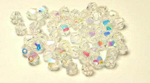 Crystallized Clear AB Colour Faceted Bicone Glass Beads 4mm Approx 100pcs TRC116