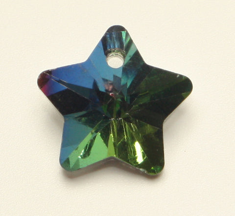 Star Glass Pendant Rainbow Faceted, Silver Sided Colour 13x14x8mm 1pcs. TRC122