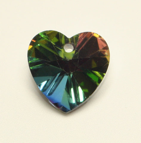 Heart Glass Pendant Rainbow Faceted, Silver Sided Colour 14x14x8mm 1pcs. TRC123
