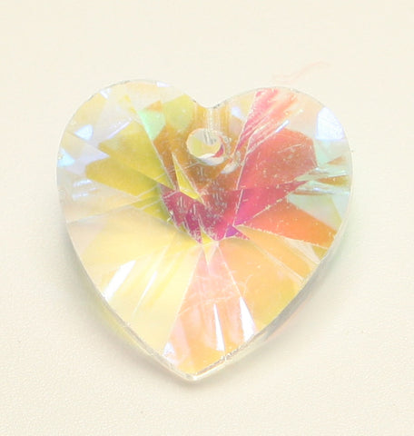 Clear AB Heart Glass Pendant Faceted AB Clear 14x14x8mm 1pcs. TRC137