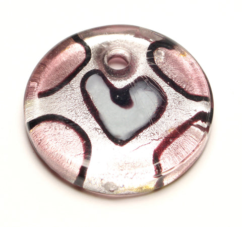 Circular Heart Handmade Glass Pendant Accorted Colours 40x40 1pcs. TRC145