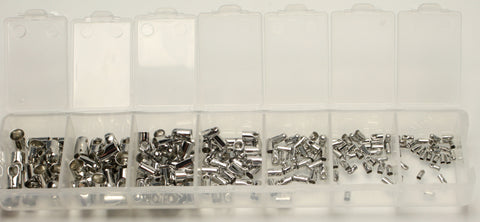 Platinum Plated Cord Ends Nickel Free Mixed Box 4-8x2-5mm 180pcs TRC157