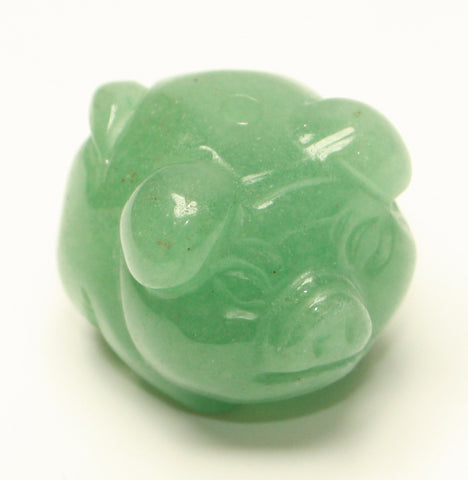 Natural Green Aventurine Pig Pendent - Bead 21x18x17mm TRC162