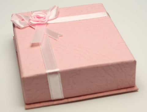 Pink Jewellery Gift Box With Pink Ribbon & Flower Size 6.5x8x2cm TRC172