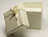 Ivory Square Jewellery Gift, Ring, Earing Box with Ivory Ribbon & Flower 5x5x5cm TRC174