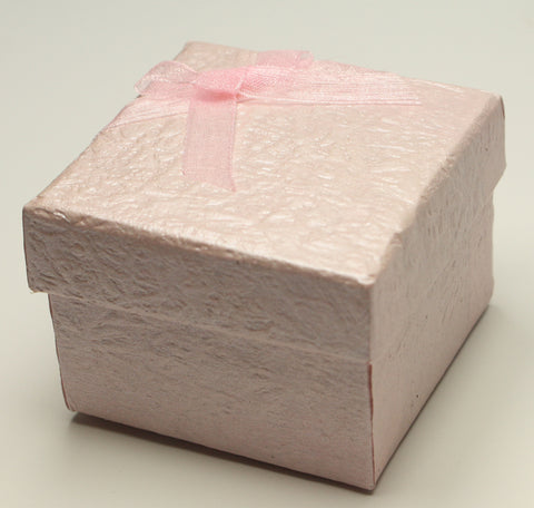 Pink Perlised Square Jewellery Gift, Ring, Earing Box with Pink Bow 5x5x3.5cm TRC179