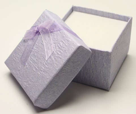 Lilac Perlised Square Jewellery Gift, Ring, Earing Box with Lilac Bow 5x5x3.5cm TRC180