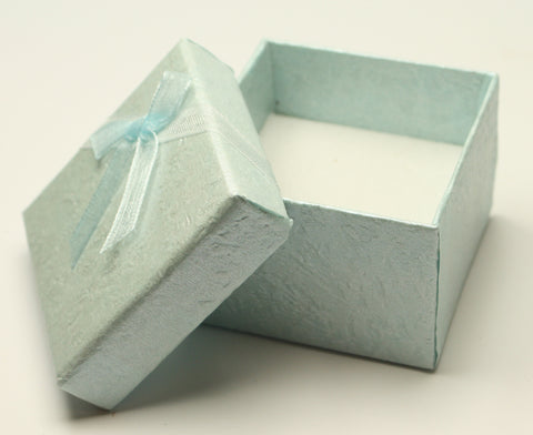 Mint Green Perlised Square Jewellery Gift, Ring, Earing Box with Light Green Bow 5x5x3.5cm TRC181