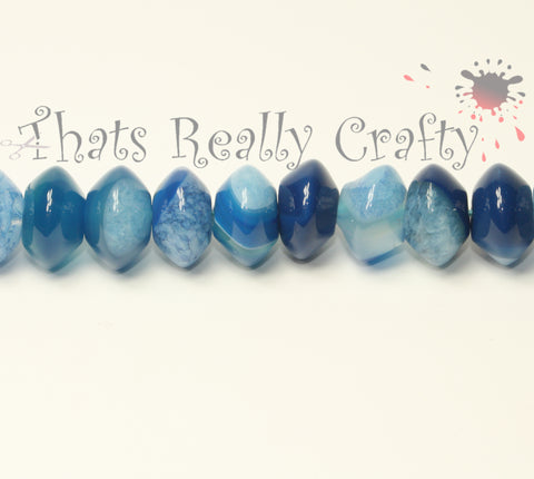 Natural Agate Abacus Dodger Blue Agate Round 14x8mm Approx 40pcs per strand TRC192