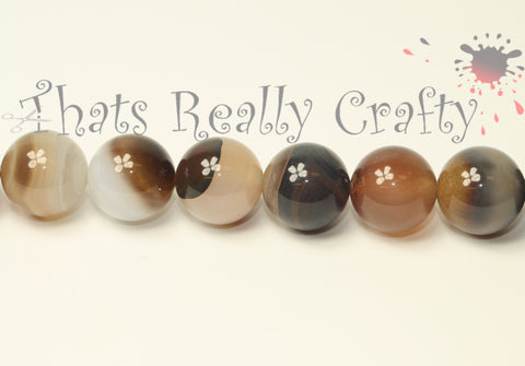 Botswana Natural Agate Round 14mm Beads Approx 28pcs TRC199