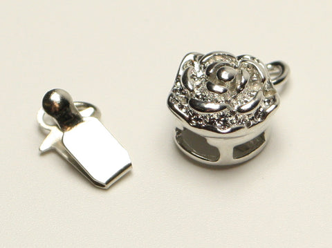 Platinum Flower Box Clasp 10mm TRC207