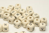 Letter Wooden Square Beads Black Lettering - White Beads 10mm TRC208