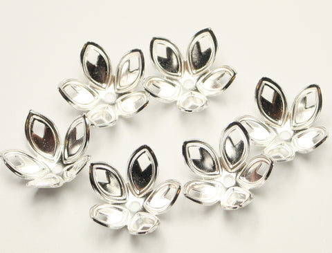 Flower Silver Plated Bead Caps 18x8mm Approx 25pcs. TRC221