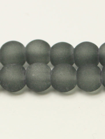 Grey Frosted Transparent Glass Round Beads 6mm Approx 70pcs. TRC227