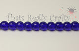 Dark Blue Glass Round Beads 8mm Approx 40pcs. TRC228