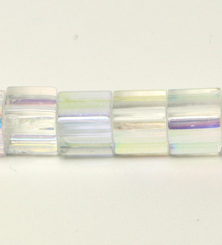 Clear AB Colour Plated Glass Cubes 6x6mm Approx 52pcs. TRC234