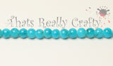 Sky Blue Drawbench Glass Round Beads 6mm Approx 62pcs. TRC235