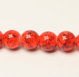 Red Orange Drawbench Glass Round Beads 8mm Approx 50pcs. TRC239